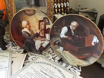 Rockwells Golden Moments Collector Plate's X 2 Grandma's Love And Grandpa's Gift