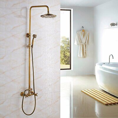 Antique Brass Shower Faucet Dual Handles Valve Mixer Tap Hand Shower Wall Mount