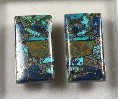 Lovely Pair  !  25.95 Cts. Natural Silver Azurite  Cushion  Cab For  Earrings