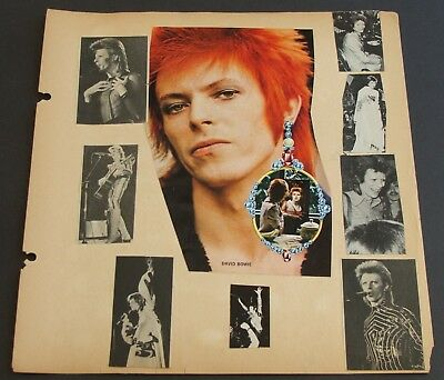 David Bowie~2 Vintage Early 1970's Scrapbook Pages~Double Sided~Magazine Photos