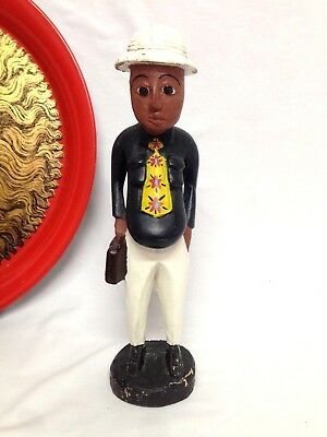 Vintage African Art Wooden Carved Colonial Statue Men Carry Briefcase Figure