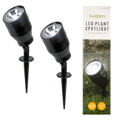2 x Mini LED Plant Spotlight Indoor Lighting Flower Flowerbed 3 x AAA Batteries