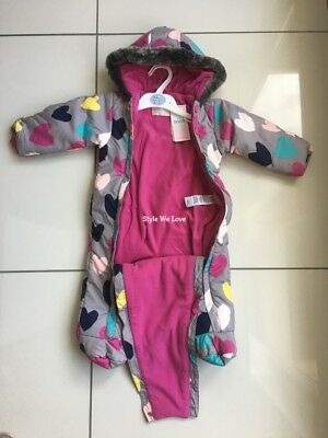 NEW BABY GIRLS M&S ALL IN ONE FLEECE LINED SNOW SUIT with STORMWEAR 6-9 MONTHS