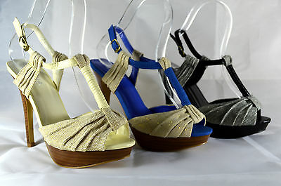 ELEGANT WOMEN'S STRAPPY SANDALS HIGH HEEL COURT SHOES Ankle-Strap Size 36-41 A.
