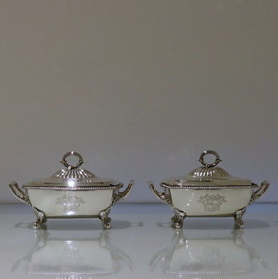 Early 19th Century George III Antique Sterling Silver Pr Sauce Tureens Lon 1809