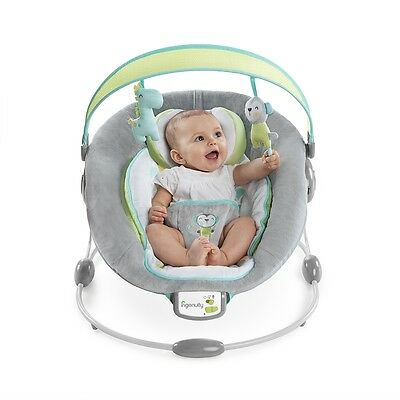 Ingenuity Savvy Safari Baby Bouncer, Vibrating Musical Bouncer with Soft Toys