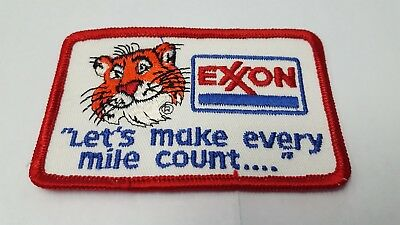 Exxon Vintage Lets Make Every Mile Count Tiger Patch Embroidered Sew On NOS