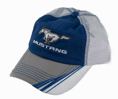Ford Mustang Baseball Hat Cap Blue & Gray White Mesh with Running Horse Logo
