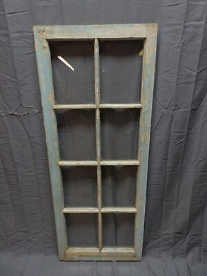 "Antique 8 Lite Casement Window 50""x20"" Cabinet Cupboard Door Vtg Chic 238-18P"