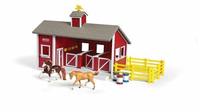 Stablemates Red Stable Set Toy Horses Farm Barn Pretend Play Xmas Gift for Kids