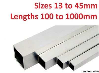 ALUMINIUM SQUARE BOX SECTION TUBE 13mm, 16mm, 19mm, 25mm, 29mm, 32mm, 38mm, 45mm
