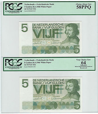 1966 NETHERLANDS, 5 GULDEN, WHITE PAPER, CONSECUTIVE PAIR, P-90b, PCGS 58PPQ/64