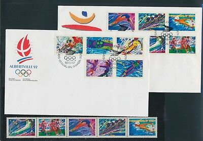 Canada 1992 Olympic Games Albertville + pane MNH ** + 2 FDC