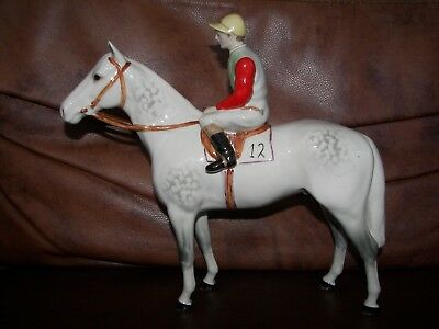 Beswick Dapple Grey Race Horse and Jockey Model No. 1862