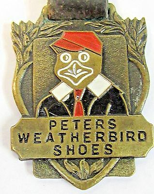 1930's PETERS WEATHERBIRD SHOES enameled watch fob with strap