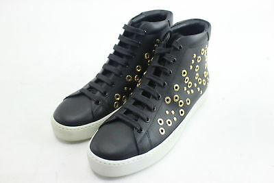 New Burberry Ladies Black Leather High-Top Sneakers Size 8 w/ Gold Eyelets