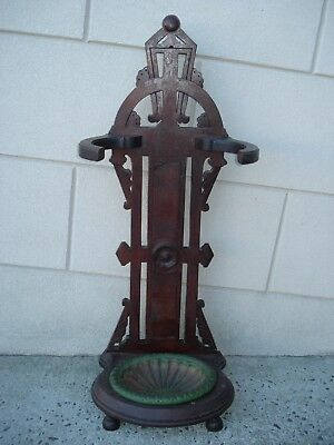 Antique Ornate Wooden Umbrella / Cane Stand Cast Iron Drip Tray / Wood Hall Tree