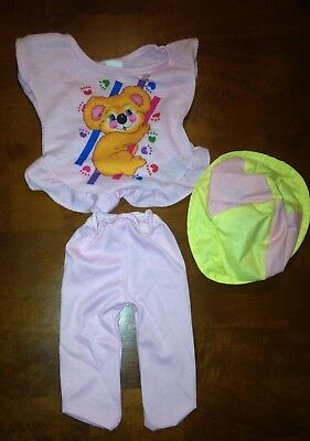 Vintage Koala Bear Sleeveless Tee With Pink Tights & Matching Hat For Doll-U.S.A