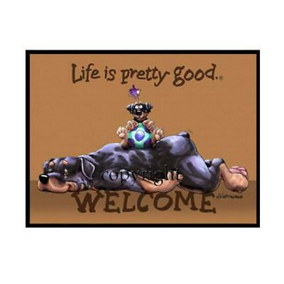 Rottweiler Dog Breed Life Is Good Cartoon Artist Doormat Floor Door Mat Rug