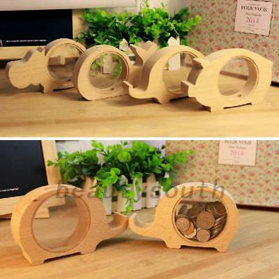 Cute Wooden Animal Elephant Coin Money Box Saving Pot Storage Bank Decor Gift