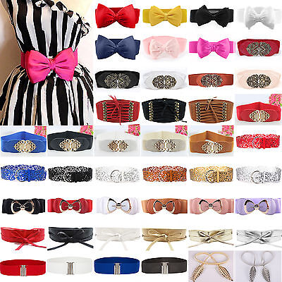 Women Stretch Buckle Waist Belt Bow Wide Dress Elastic Corset Waistband Cinch US