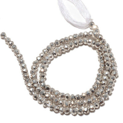 Coated Silver Pyrite Faceted Rondelle Beads 3.5mm To 4mm 14 Inches Strand M114