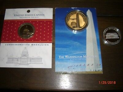 Set of 3 Collectible Coins- U.S. Capitol, Washington Monument, Natl Archives NEW