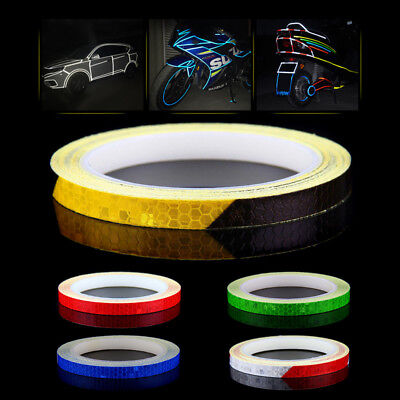 1Pc 8M Reflective Car Motorcycle Bike Body Rim Stripe Tape Wheel Sticker Decal