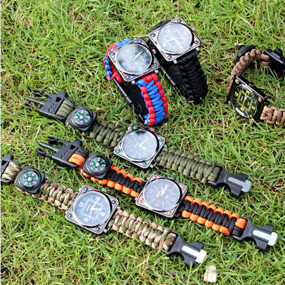 Men Outdoor Survival Analog Bracelet Watch Fashion Compass Multifuctional