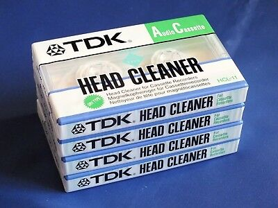 4 x New Sealed TDK HCL-11 Dry Type Audio Cassette Head Cleaners