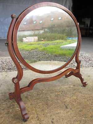 19th century mahogany strung inlaid oval dressing table swing mirror (534)