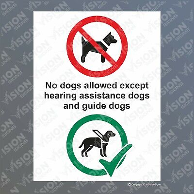 NO DOGS ALLOWED EXCEPT GUIDE DOGS Sticker Sign Decal Plastic Metal A6 A5 A4 A3