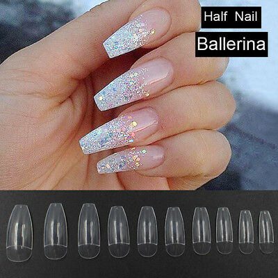 100 pc Professional Ballerina Half Nails Tips,French Acrilyc Nail Art,UV Gel,UK