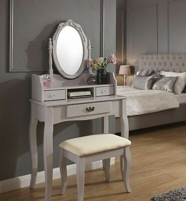 VINTAGE STYLE GREY Dressing Table Padded Stool Oval Mirror Drawers ...