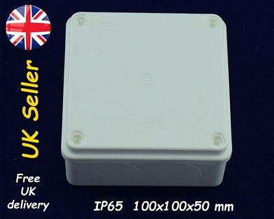 Electrical junction box weatherproof enclosure 100mm x 100mm x 50mm IP65 White