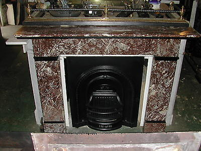 Victorian marble fire surround Rouge / pink with slate embellishments