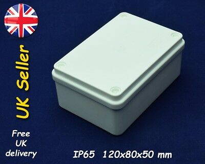 Electrical junction box weatherproof enclosure 120mm x 80mm x 50mm IP65 White