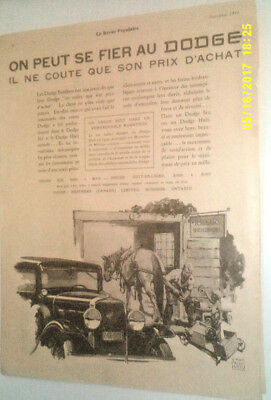 1930 Dodge Automobile Original Ad In French