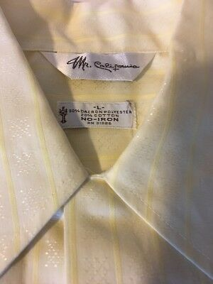 Vtg Retro Yellow Shirt Mens L Madmen Style