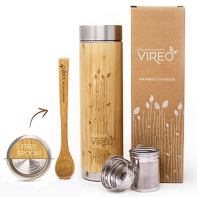 Stainless Steel Bamboo Tea Infuser 480ml - Double Wall Coffee Travel MugTumbler