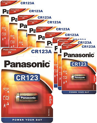 10 x Panasonic CR123A 3V Lithium Photo Battery 123 CR123 DL123 CR17345 Camera