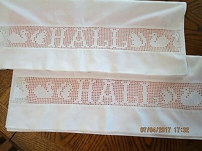 """Antique pillowcases hand crocheted with name """"HALL"""", figural ducks 1800's"""