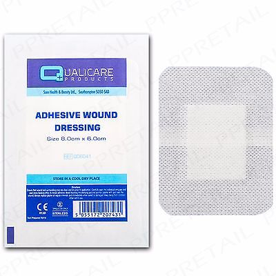 25x ADHESIVE WOUND DRESSINGS 8x6cm Cut Graze Injury Sterile Fabric Plaster Pad