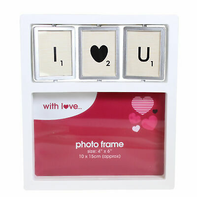 """VALENTINES DAY 4 x 6 """" I LOVE YOU HEART PHOTO SPINNER PICTURE FRAME WEDDING"""