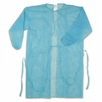Disposable Blue Isolation Gown Cover Protection Standard - LOT OF 100!!