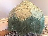 Teal Green Vintage Victorian Damask Lampshade with Fringe