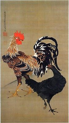 Rooster and Hen, c. 1760 by Itō Jakuchū. Japanese Art Reproduction