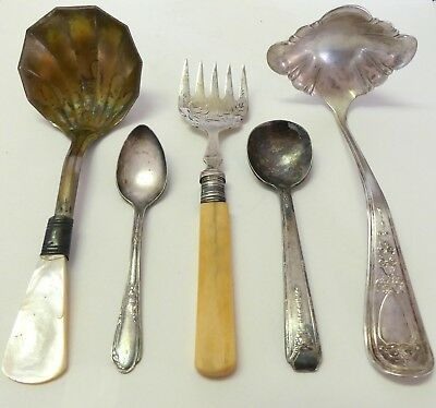 Lot Of Antique Vtg Table Utensils: Ladles, Spoons, Fish/pickle Fork (Bone, Mop)