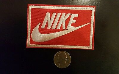 "Nike RED iron on PATCH -  patches new  Appx 3"" x 2"" AWESOME"