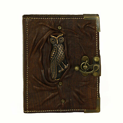 Handmade Genuine Leather Refillable Journal Diary Notebook Brown Owl Animal
